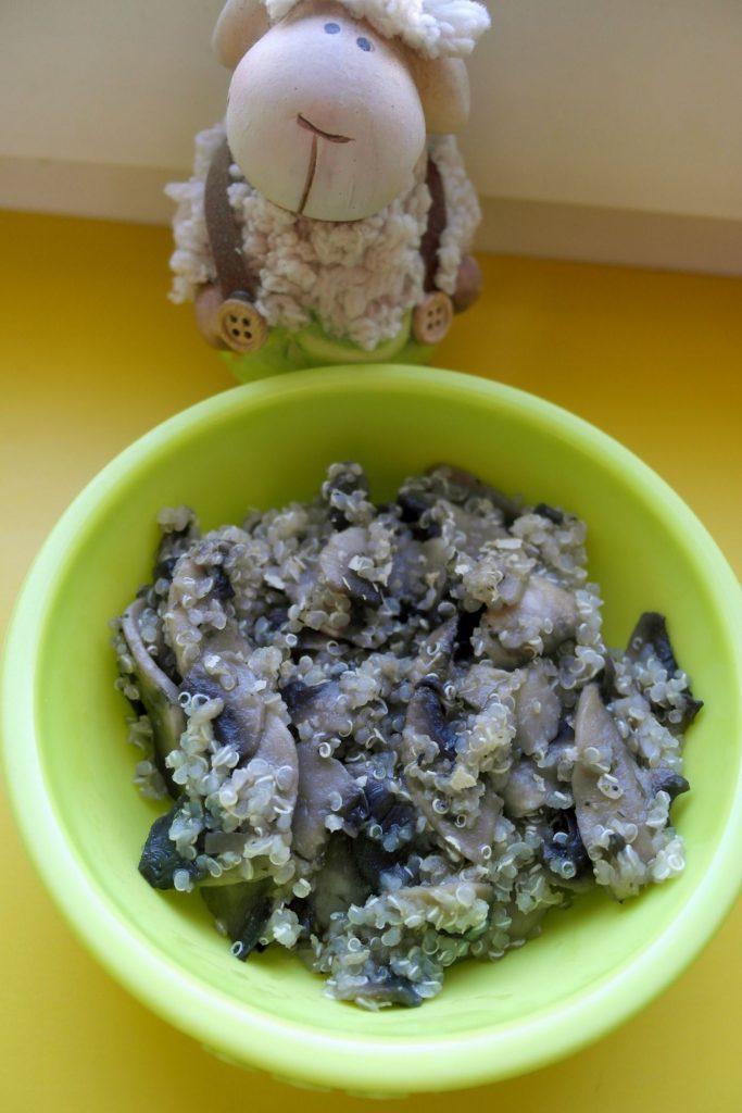 retete cu quinoa, quinoa cu ciuperci si usturoi, retete cu quinoa pentru copii